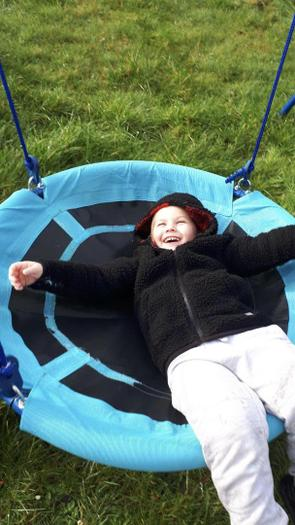 Samuels favourite place is the outdoors, going as high as he can on his swing!