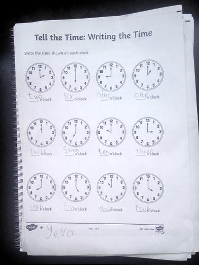 O'clock time telling