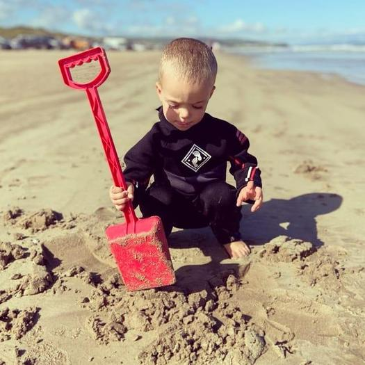Matthew: Portstewart Strand Beach. Building sandcastles & playing in the water.