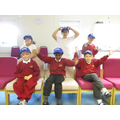 We chose to buy blue school council caps.