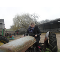 Miss Dixon on a tractor!