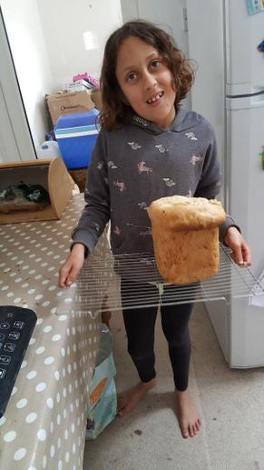 Vivi's bread baking. Yum!