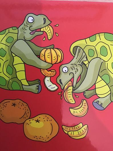 Two turtles tuck into tasty tangerines