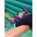 Fun on the bouncy castle slide!