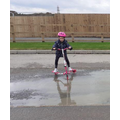 Scooting through a puddle