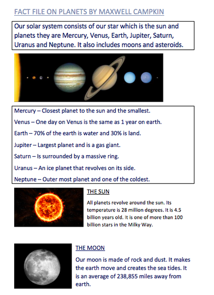 Maxwell's solar system fact file