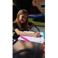 Amber working hard on Maths work