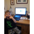 James doing his maths quiz