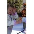 Amber working hard in the sunshine