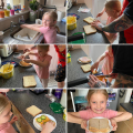 Holly making her sandwich