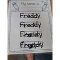 Freddy has been practising his name.