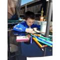 Mason's outdoor art lesson