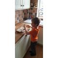 James making his sandwich
