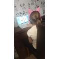 Chloe working hard