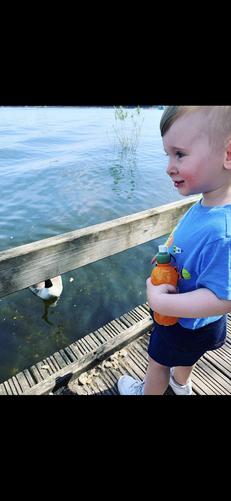 Freddie enjoying feeding the ducks