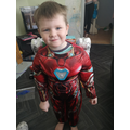 Albie dressed as Iron Man.