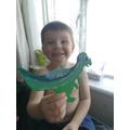 Albie's paper plate dinosaur.