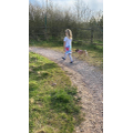Holly walking her dog
