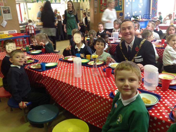 Mayor Cllr Richard Dodd enjoying lunch