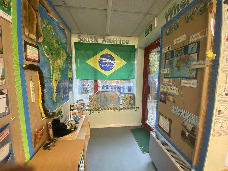 Our Continent Corner and entrance to our classroom