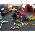 Trees using wooden blocks and shapes.