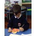 'I made a yellow and orange pattern.'