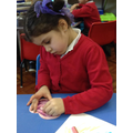 We made a repeating pattern on a heart shape.