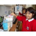 Measuring our ingredients.