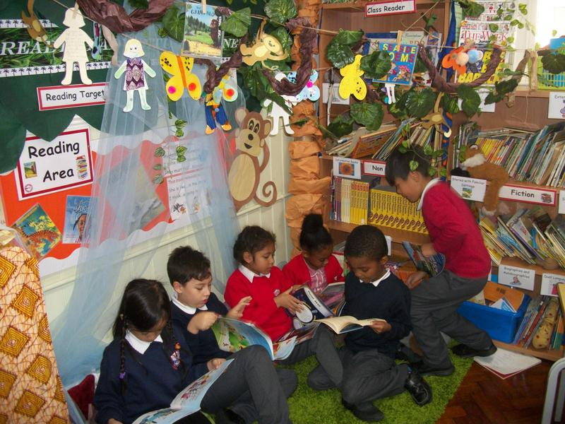 Enjoying our prize-winning, jungle-themed book corner!