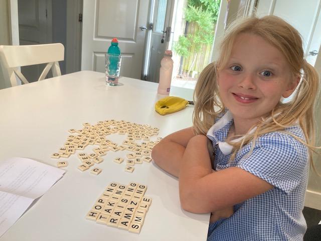 Rosie's home spellings practice.