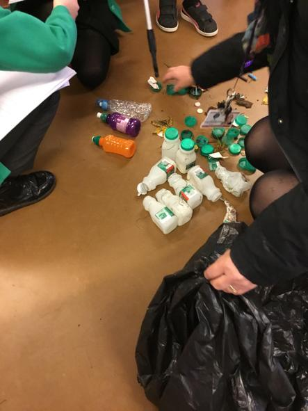 Lots of plastic bottles and bottle tops!