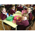 Tornadoes Class enjoying their packed lunches