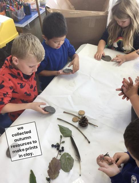 We made clay presses of items from our natural environment!