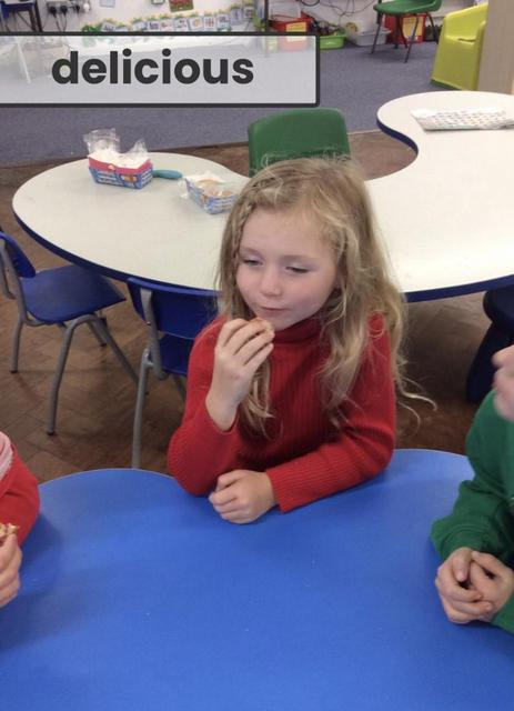 We tasted jam and fruit Welsh cakes in honour of Diwrnod Shw Mae Day!