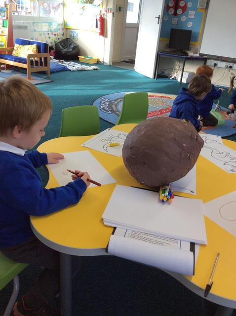 We found a real Dinosaur egg. Our drawings and mark makings of the egg were fantastic.