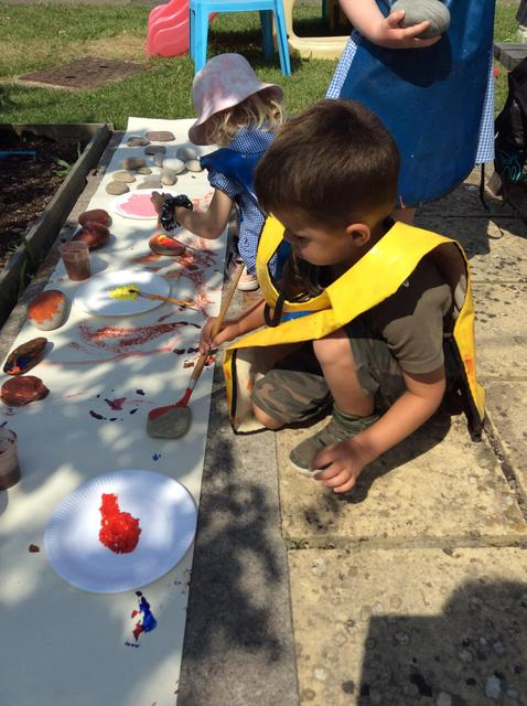 Painting our pebbles was lots of fun, we were very creative.