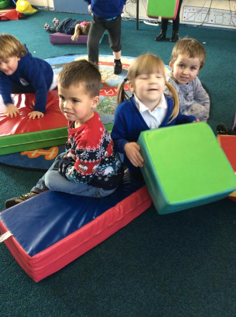 We enjoyed using the soft play equipment to make a manger for Baby Jesus