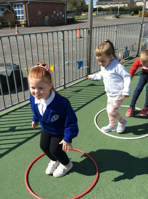 We took part in an obstacle course, we had lots of fun recording who came first and last.