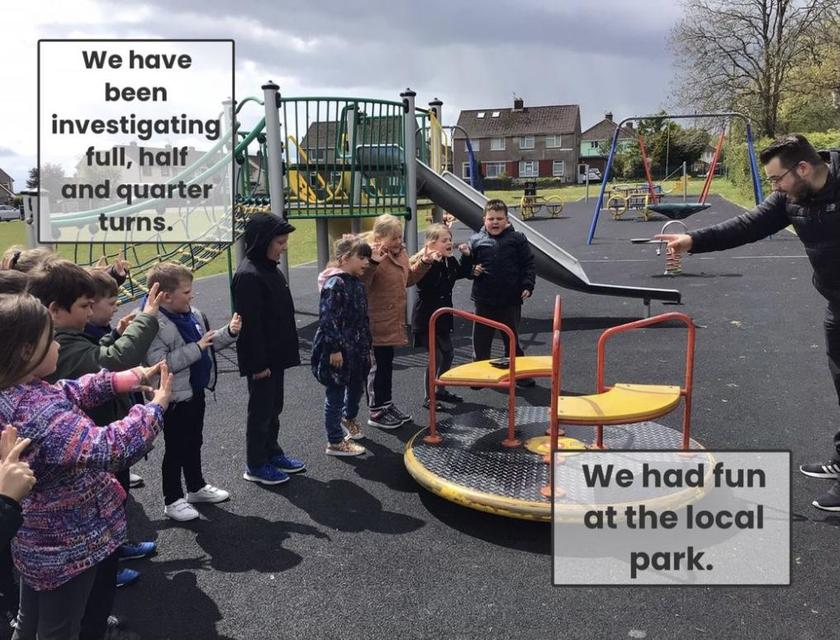 We visited our local park and looked at whole, half and quarter turns!