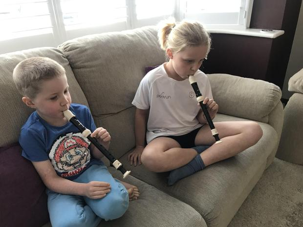 and practising the recorder with Barnaby!