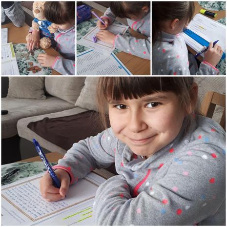Hania working hard on her English
