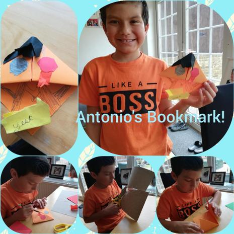 Antonio's been arty, making a bookmark and...