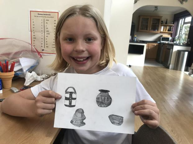 Anglo-Saxon artefacts drawn by Polly