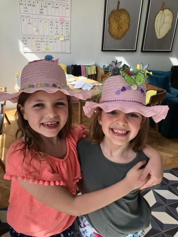 Francesca and her sister in their Easter bonnets!