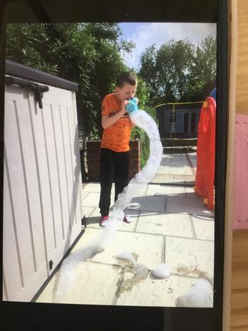 Louie's very long bubble snake!