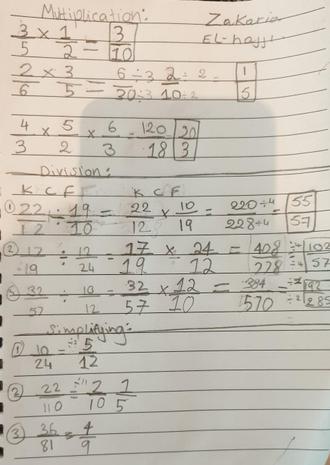 his amazing maths work! Well done Zaki :)
