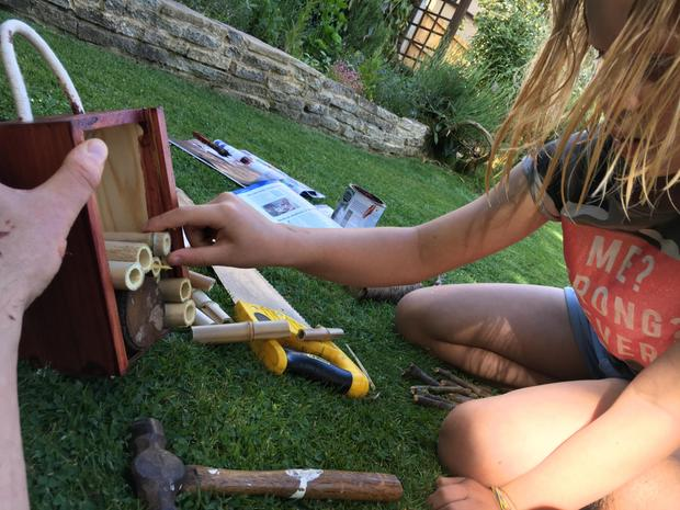 sawing, hammering, gluing...
