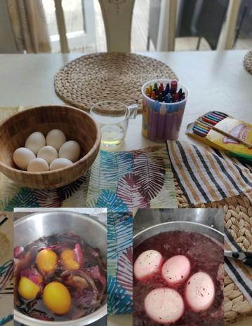 Michael dyed some eggs with his mum over Easter..