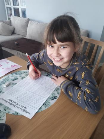 Hania enjoying her maths!
