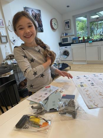 Anya making her coin eating robot!